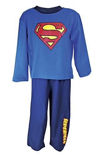 DC Comics Superman Langärmelige Schlafanzug Nachtwäsche in 2 Farben und 5 Größen (Alter 2, Royal Blue/Navy Blue)