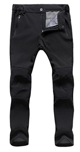 Geval Pantalones de esquí de mujer, cortavientos de Softshell y forro polar - negro - S