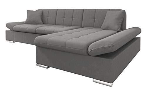 Mirjan24 Ecksofa Malwi mit Regulierbare Armlehnen Design Eckcouch mit Schlaffunktion und Bettkasten, L-Form Sofa vom Hersteller, Couch Wohnlandschaft (Mono 246, Ecksofa: Rechts)