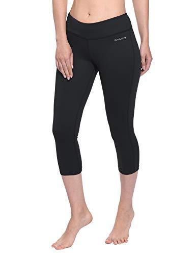 Baleaf Women's Yoga Capri Pants Workout Running Legging Inner Pocket Black Size M