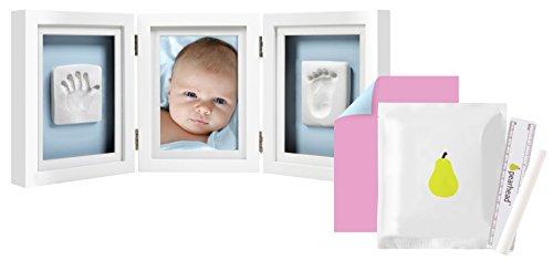 Pearhead P63006 Baby Abdruck Tischrahmen, Mit inklusive Set um Handabdruck oder Fußabdruck zu erstellen, weiß