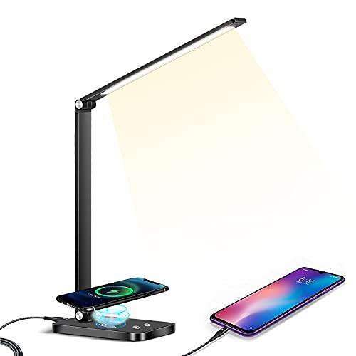 MDHAND Lámpara de escritorio LED de brillo ajustable, lámpara de mesa de control táctil LED, 5 niveles de brillo, con ahorro de energía [clase energética A ++] (Negro)