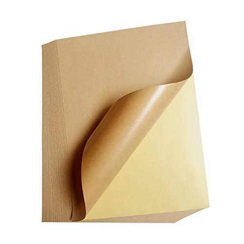 INHEMING 50 Bögen Selbstklebendes Kraftpapier,Etikettendruckpapier, A4, Matt