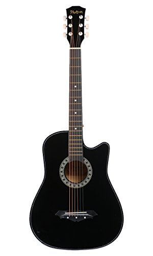Photron Acoustic Guitar, 38 Inch Cutaway with Pick Guard, PH38C/BK with Bag,...