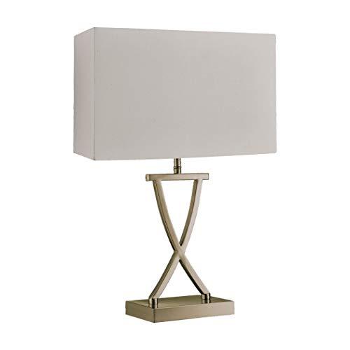 Searchlight Club - Lámpara de mesa con 1 luz, latón envejecido, pantalla crema, E14