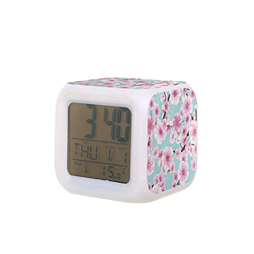 Kids Alarm Clock Wake Up Easy Setting Digital Travel for Boys Girls Watercolor Pink Cherry Blossom Sakura Large Display Time/Date/Alarm/Temperature, Snooze Bedside Led Night Light Clock Best Gift