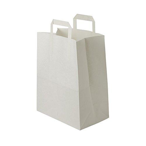 BIOZOYG weiße Papiertüten mit Griff I umweltschonende Papiertüte aus Kraftpapier I Geschenktüte biologisch abbaubar, Tüten kompostierbar I 250 x weiße Papiertragetaschen mit Henkel 26x12x35 cm