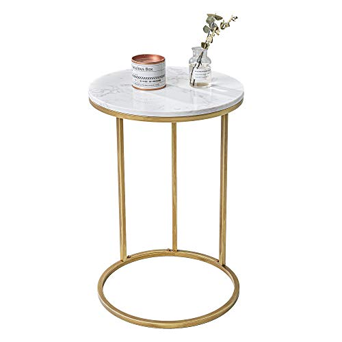 UMI. by Amazon Gold Sofa Side Table C Shaped Table Nightstand Modern with Metal Frame for Living Room Bedroom (Marble Top)