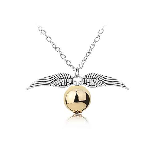 Keep Comfort Harry Potter de Moda Collares Pendientes Reliquias de la Muerte Bola Redonda con Doble ala Snitch Oro/Plata Collar Accesorios