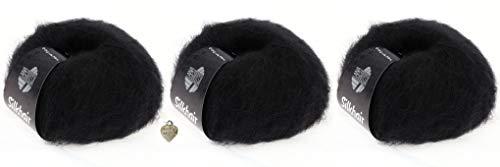 Wooob Lana Grossa Silkhair - 3 Knäule Feines Lace-Garn aus Superkid-Mohair und Seide in schwarz