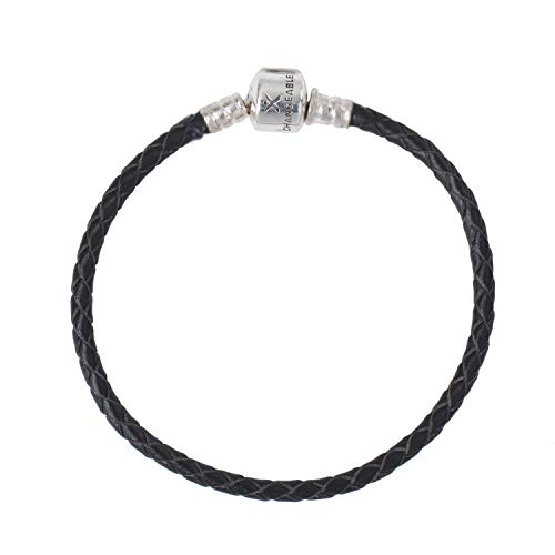 CHANGEABLE 6.7 inchs Leather Charm Bracelet, 925 Sterling Silver Snake Chain Barrel Clasp Jewelry Fit Pandora Charm Birthday Gift for Women, 17 cm Black Braided