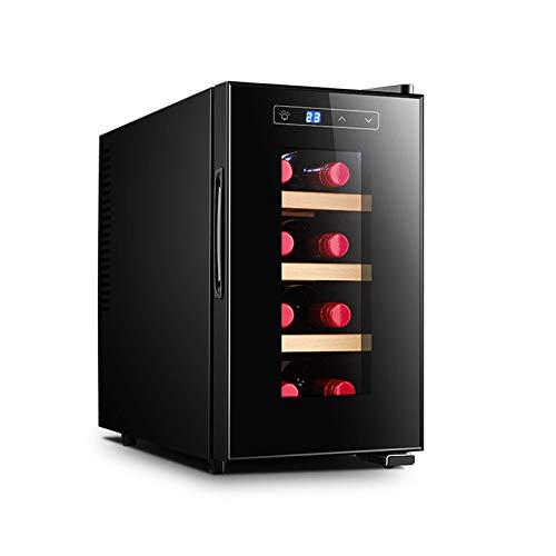 MINGDIAN Refrigerador Enfriador de Vino con compresor de 8 Botellas con Cerradura | Gran Bodega Independiente | Refrigerador de Vino con Control de Temperatura Digital 41f-64f - Negro