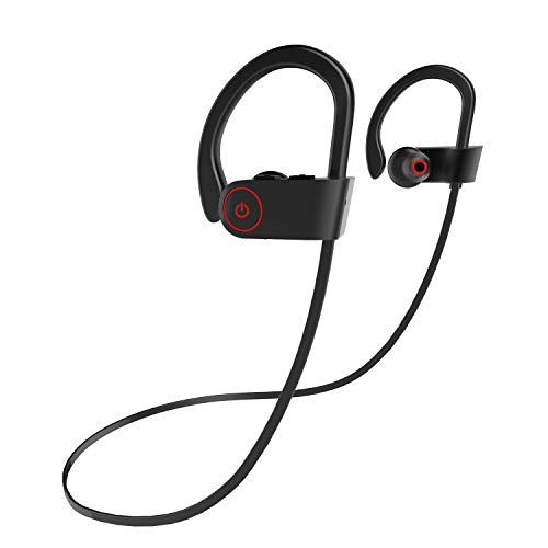 QueenDer Bluetooth Kopfhörer Kabellose Sport IPX7 Wasserdicht Integriertes Noise Cancelling Mikrofon Stereo Im Ohr Kopfhörer mit Ohrbügel Geeignet für Fitness Studio (schwarz)