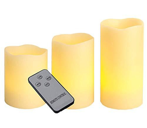 Best Season LED- Wachsoptik-Kerzen, 3er Set, flackernd, Farbe, Plastik, Beige, 7 x 21 x 15 cm, 3 Einheiten