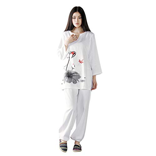 KSUA Mujeres Tai Chi Uniforme Zen Traje de meditación Ropa de algodón Kung Fu Chino Traje de Yoga, Rojo EU M/Etiqueta L