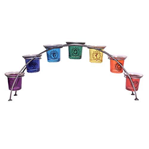 Grand 46cm verre reiki chakra arc-en-ciel arc porte-bougie bougie votive support cadeau 7 étuis