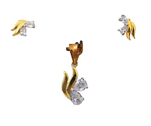 CaratYogi cobre chapado en oro pera White Cubic Zirconia