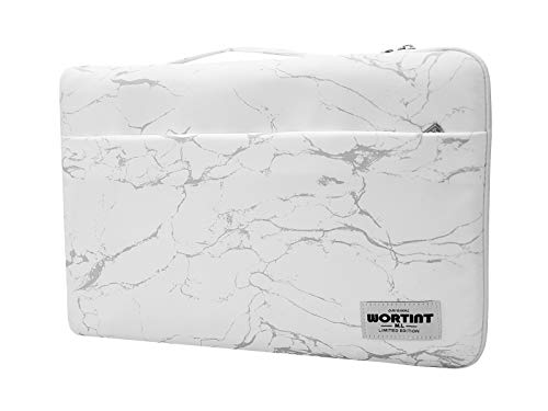 WORTINT Laptop Bag Sleeve Protective Case Cover Water Resistant Shockproof Briefcase Multifunctional Carrying Bag for All Laptops, Notebooks, Ultrabooks, Netbooks. (White Marble)