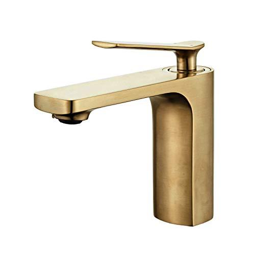 Wasserhahn bad, Modern Waschtischarmatur,Einhandmischer Waschtischarmaturen,Keramikventil, Kaltes und Heißes Wasser Vorhanden,Gebürstetes Gold