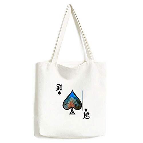 Ocean Fish Tauchen Menschen Koralle Wissenschaft Natur Handtasche Craft Poker Spaten waschbare Tasche
