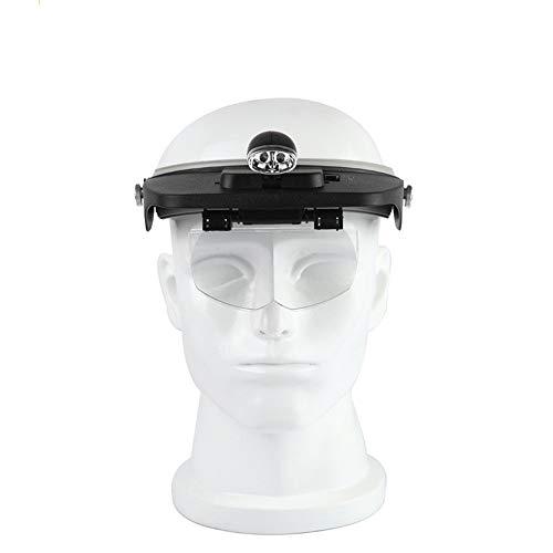 Vergrootglas met 2 ledlampjes, vergrootglas op het hoofd met 4 afneembare glazen voor het lezen van elektronische sieradenreparaties.