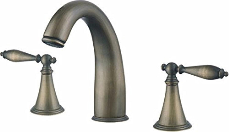 Bijjaladeva Wasserhahn Bad Wasserfall Mischbatterie Waschbecken WaschtischAntike heiss & Kalt Wasser Keramik Ventil 3-Loch Doppelzimmer Badezimmer Waschtisch Armatur mit Griff