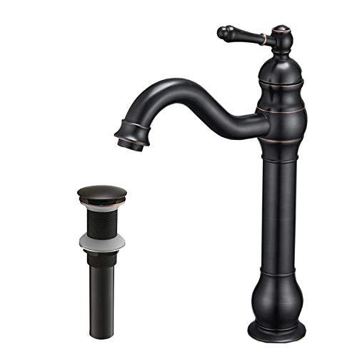 Bathlavish Oil Rubbed Bronze Bathroom Faucet Vessel Sink Single Handle 360° Swivel One Hole Deck Mount Lavatory Commercial Matching Pop Up Drain Without Overflow