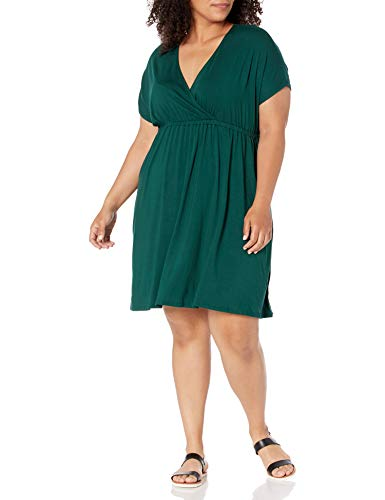 Amazon Essentials Plus Size Surplice Dress Kleid, Jade, XL Größen