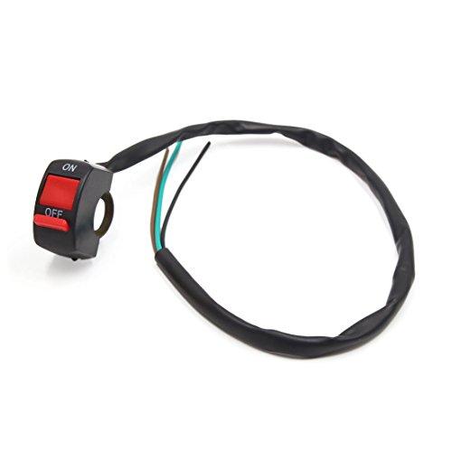 sourcing map 22mm Manillar Moto Botón Rojo Interruptor para Faro Delantero Luz Intermitente ON/Off 3 Cables