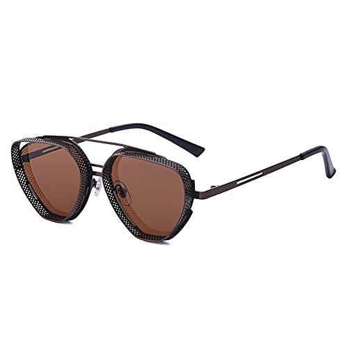SHEEN KELLY Gafas de sol hexagonales Steampunk para hombres y mujeres, gafas con escudo hippie vintage