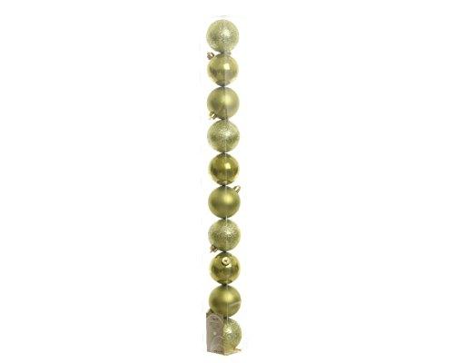 Kaemingk Decoris Lot de 10 boules de Noël incassables Vert olive