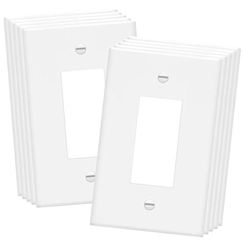 ENERLITES Decorator Light Switch or Receptacle Outlet Wall Plate, Over-Size 1-Gang 5.5' x 3.5', Unbreakable Polycarbonate Thermoplastic, UL Listed, 8831O-W-10PCS, White (10 Pack)