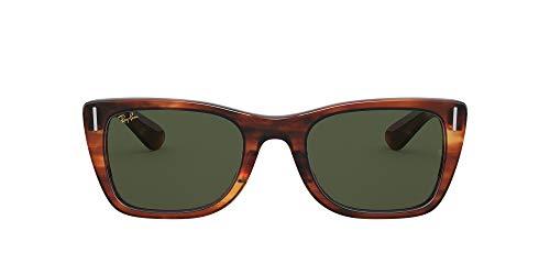 Ray-Ban RB2248 Caribbean Rectangular Sunglasses, Striped Havana/Green, 52 mm