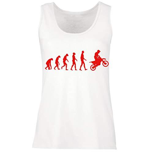 lepni.me Camisetas sin Mangas para Mujer Evolución del Motocross Equipo de Moto Ropa de Carreras Todoterreno (Medium Blanco Rojo)