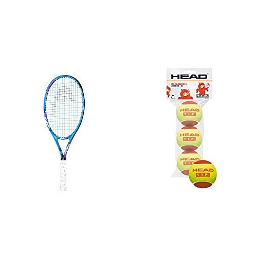 Head Maria 25 Raqueta De Tenis, Juventud Unisex, Multicolor, 8-10 Años + Pro-3 Ball Tip, Color Red, Unisex-Youth, Talla Única