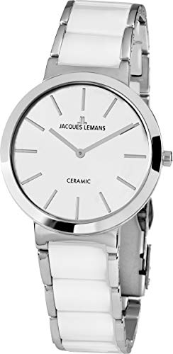 JACQUES LEMANS Damenuhr Milano Metallband/High-Tech-Ceramic massiv Edelstahl 1-1999B