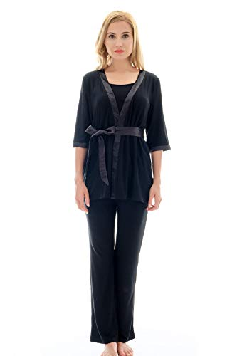 Bearsland Maternity Women's 3 Pieces Soft Nursing Pajamas Set Postpartum Sleepwear for Breastfeeding Black