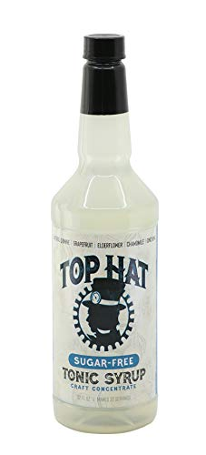 Top Hat Sugar Free Quinine Tonic Syrup - Zero Calorie Quinine Concentrate - 32oz bottle - Make tonic water at home - Just add seltzer water