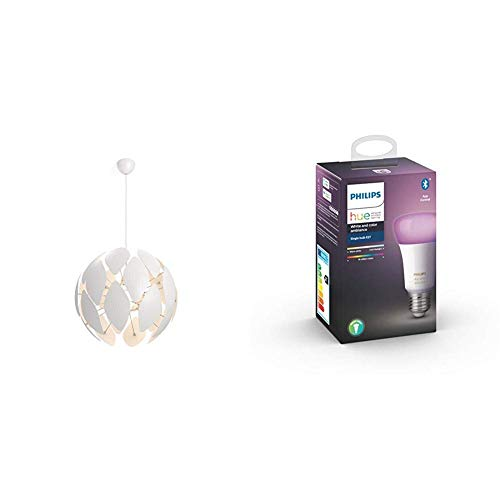 Philips Smart Volume Chiffon - Lámpara colgante blanca 60cms + Bombilla LED inteligente Philips Hue E27, luz blanca y de colores, compatible con Bluetooth y Zigbee, funciona con Alexa y Google Home
