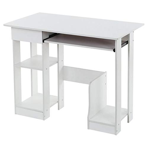 Computer Desk with Storage Shelves and Hutch, Office Desk with Monitor Shelf, Large Modern Computer Table, Studying Writing Desk Workstation for Home Office (White)