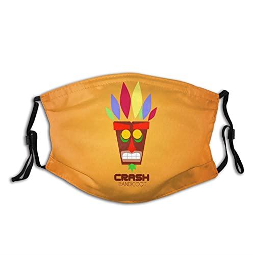 Warped Crash Bandicoot Stuff Masque facial anti-poussière réutilisable pour moto, cyclisme, course à pied, cadeau pour adolescents, hommes et femmes (2 filtres) - Violet - taille unique