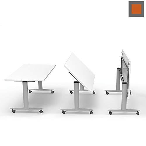 Arcos Italia - Mesa apilable de escritorio plegable sobre ruedas portátil, ideal para ferias y salas de conferencias y aulas multifuncionales