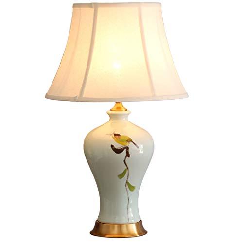 LFS Lampada da comodino in ceramica in stile cinese moderno minimalista Lampada da comodino in camera da letto in stile soggiorno Lampada da tavolo con fiori e uccelli dipinti a mano