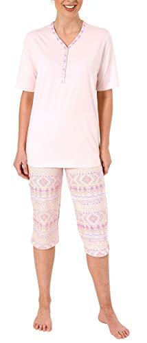 NORMANN-Wäschefabrik Damen Capri Pyjama Kurzarm Ethnolook - auch in Übergrössen bis Grösse 60/62-204 90 226, Farbe:rosa, Größe2:40/42