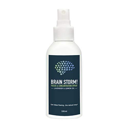 Konzentration steigern mit Raum-Duft von Brain Storm I BIO Raum-Parfüm mit ätherischen Ölen 100ml I Aroma gegen Antriebslosigkeit, für mehr Fokus und Leistung I Alternative zu Traubenzucker