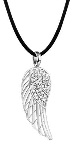 Nenalina Damen Halskette aus Kautschuk schwarz mit Engelsflügel Anhänger, Kautschukkette für Frauen mit Flügel und Zirkonia, Damen-Kette mit 925 Sterling Silber Verschluss, Länge 42cm