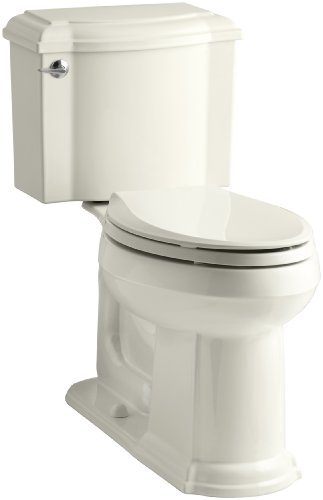 KOHLER K-3837-96 Devonshire Comfort Height Two-Piece Elongated 1.28 gpf Toilet, Biscuit