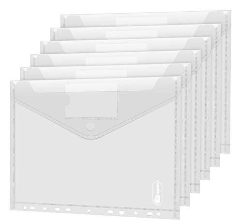 36 pack Dokumententasche A4 - A4 Sichttasche Dokumenten Mappen Brieftaschen Tasche für Dokument Organisieren mit Lochrand Klettverschluss und Etikettentasche