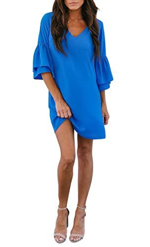 BELONGSCI Women's Dress Sweet & Cute V-Neck Bell Sleeve Shift Dress Mini Dress (Blue, XS)