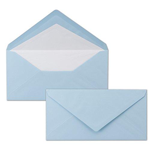 50 x DIN Lang Briefumschläge - bunt mit weißem Seidenfutter - Blau - 11x22 cm - 80 g/m² - ideal für Einladungen, Weihnachtskarten, Glückwunschkarten aus der Serie Farbenfroh